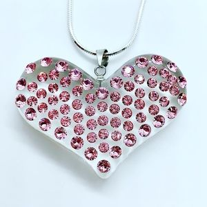 Pink lucite Swarovski crystal heart necklace